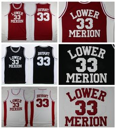 0add7b43be3 Mens Lower Merion Kobe Bryant 33 High School Basketball Jersey Cheap Red  Black White Kobe Bryant HS Stitched Basketball Shirts S-XXL