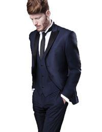 Discount men elegant vest - Black Elegant One Button Men Suits 3 Pieces (Jacket+Pants+Vest) Grooms Men Suits Custom Made Slim Fit Wedding Groom Tuxe