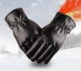 winter golf mittens 2019 - waterproof Full finger Motorcycle Cycling Mittens Solid PU Leather Luxurious Forefinger Touch Screen Gloves black free s