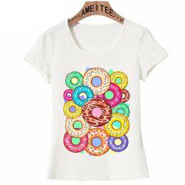 $enCountryForm.capitalKeyWord Australia - Summer Fashion Women T Shirts Colorful Donuts Punchy Pastel Flavours Art T-Shirt Casual Tops Cute Girl Tees Pink Design t shirt