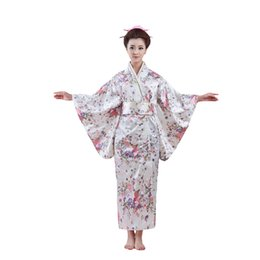 $enCountryForm.capitalKeyWord UK - Printed Woman Lady Japanese Tradition Yukata Cosplay Costume Kimono Bath Robe Gown With Obi Flower Vintage Evening Party Dress