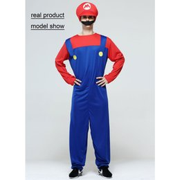 Super mario clothing online shopping - Accessories Cosplay Costumes Halloween Costumes Men Super Mario Luigi Brothers Plumber Costume Jumpsuit Fancy Cosplay Clothing for Adult