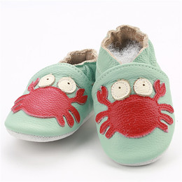 e94a54a653df2 Skid-Proof First Walkers Genuine Leather Baby Boys Girls Infant Shoes  Slippers 0-6 6-12 12-18 18-24 Carton Baby Shoes 5pairs 10pc