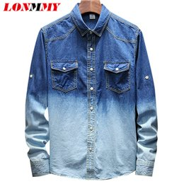 b31bac61a2 LONMMY Denim shirt men clothes 2018 Cotton Gradient Long sleeve Jeans mens  shirts casual slim fit fashions blusas masculina New