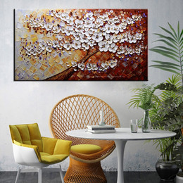 Modern Abstract Flower Paintings Canada - Large wall pictures for living room flower modern hand painted canvas oil paintings canvas abstract art tree painting