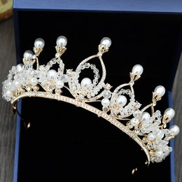 vintage rose hair accessory NZ - New Style Vintage Baroque Bridal Crown Royal Princess Gold Wedding Tiara Luxury Clear Crystal Pearl Prom Party Hair Accessory Free Shipping