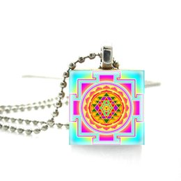 $enCountryForm.capitalKeyWord UK - 2019 New Arrival Scrabble Tile Necklace Buddhist Sacred Geometry Sri Yantra Necklace Scrabble Pendant Wooden Game Tile Jewelry