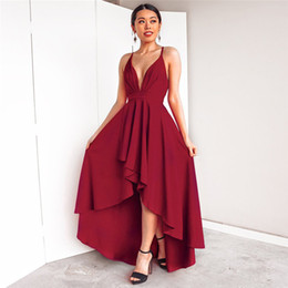 2e1650892672 V Neck Sexy Strap Party Dresses for Women Fashion Hi-Lo Long Dresses for  Birthday Party Sleeveless Backless Red Black Party Dresses for Lady