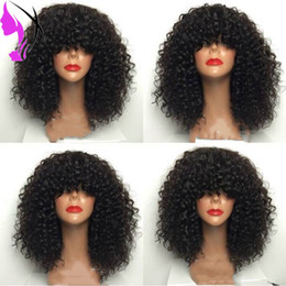 curly bang wig NZ - Black Brown Red Purple Pink Gey afro kinky curly synthetic lace front wig glueless short lace front wig with bangs for black white women