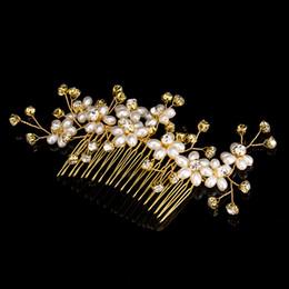 Pearl Gold Hair NZ - Women Bridal Wedding Hair Combs Pearls Crystal Bridal Hair Comb Gold Silver Girls Bridal Headpieces Wedding Veil Dresses Hair Accessories