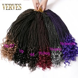 curly ombre crochet hair 2019 - VERVES 5 piece curly twist crochet braids hair 18 inch 30 strands pack ombre synthetic braiding hair extentions 80g pack