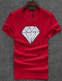 $enCountryForm.capitalKeyWord Canada - Deluxe T shirt men 2018 new Fashion Diamond Printed Round Neck T-shirts Men's short sleeve Sport T-shirt White Black
