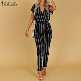 Elegant Jumpsuits Sleeves Australia - 2018 Summer ZANZEA Women Elegant Striped Ruffled Jumpsuit Sexy Deep V Neck Short Sleeve High Waist Long Turnip Bodysuit Overalls