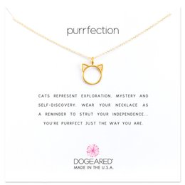 $enCountryForm.capitalKeyWord Australia - Dogeared Choker Necklaces With Card Gold Silver Cat Design Pendant Necklace For Fashion Women Jewelry purrfection