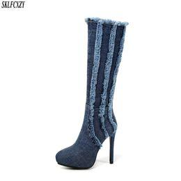 $enCountryForm.capitalKeyWord UK - SKLFCXZY Autumn new arrival ladies jeans knee boots high heels comfortable zipper woman boots fashionable shoes women