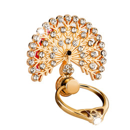 Mobile Finger Grip UK - New Fashion Convenient Finger Grip Mobile Phone Holder Diamond Crystal Metal Peacock Ring bracket Holder Portable for goophone iphone