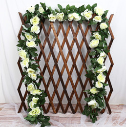 fake vines decoration UK - 230cm Fake Silk Roses Ivy Vine Artificial Flowers with Green Leaves For Home Wedding Decoration Hanging Garland Decor