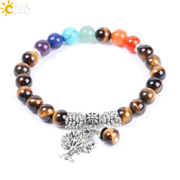 $enCountryForm.capitalKeyWord Australia - CSJA 8mm Tiger Eye Bracelet Men Natural Stone Bead Chakra Elastic Rope Bangle Antique Silver Color Tree of Life Reiki Healing Jewelry F125