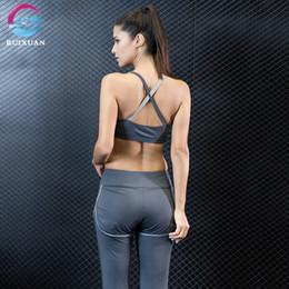 Yoga Bra Pants Canada - Women Fitness Yoga Sports Bra Set Long Legging Pants Jogging Suits for Women Sport Suit Yoga Wear Clothing Gym Clothes Female