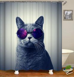 Wholesale Customized Waterproof Cute Pretty Pet Cool Cats with Glasses Pattern Designed Digital Printing Bathroom Shower Window Curtain with Hooks