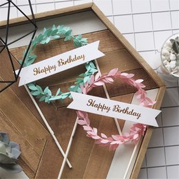 $enCountryForm.capitalKeyWord Australia - Small Pink Green Garlands Cake Toppers Decoration Cupcake Picks Birthday Party Decorating Supplies, 10 Pcs