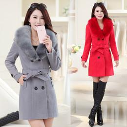 Discount korean long black hair - High-quality woolen coat women's long section 2018 winter Korean women's hair collar woolen coat double-breast