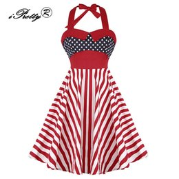 Chinese  Plus Size Retro Women Dresses Vintage Rockabilly Robe Pin Up Party Dresses Polka Dot Plaid Striped Swing Halter Female Vestidos manufacturers