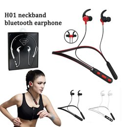 Wireless Headphones One NZ - H01 magnetic neckband in ear headphones stereo wireless bluetooh earphones intelligent one driving two for smart mobilephone with pack
