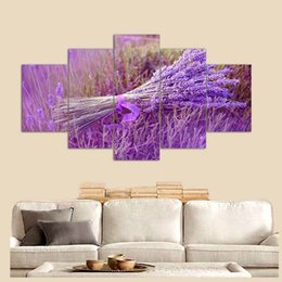 modern abstract flower paintings 2019 - Modern Home Decor For Living Room Canvas 5 Pieces Lavender Flowers Painting HD Prints Poster Modular Framework Wall Art