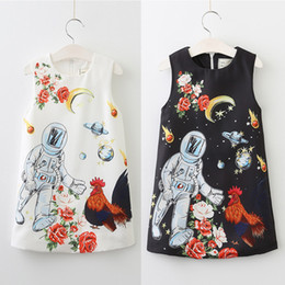 715f843bc EuropEan plEatEd skirt online shopping - Girls Braces Skirt Space Astronaut  Cock Cartoon Printed Zip Vest