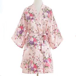 Chinese  Sexy Pink Plus Size Brides Wedding Robe Dress Women's Elegant Print Satin Nightwear Flowers Kimono Bathrobe Gown Pajamas G09 manufacturers