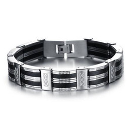 Chinese  Black Best Friends Bangles Made Of Silicone Mix Stainless Steel Bracelet Men Classic Luxury Man Bracelets Fashion Male Jewelry manufacturers