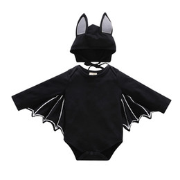 2018 Cute Halloween Costume Baby infants Batwing sleeve Bodysuit Long sleeve  + Hat 2pcs set Black Autumn 0-24months wholesale d324ade96