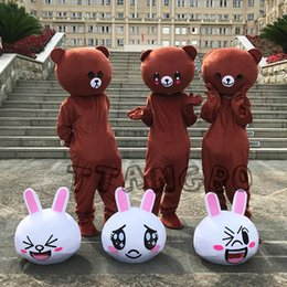 Discount pink bear mascot costume - Hot Sale Cute Brown Bear and Coney Rabbit Mascot Costume Halloween Christmas Rilakkuma Easter Bunny Customizable logo