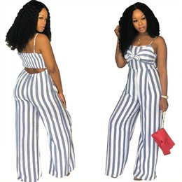 $enCountryForm.capitalKeyWord NZ - Sexy Bow Tie Striped Print One Piece Rompers Women Spaghetti Strap Sleeveless Cut Out Back Wide Leg Jumpsuit Combinaison Femme