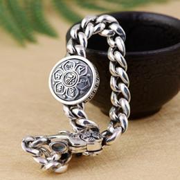 86692c1ae8ee 925 joyería de plata esterlina Spinning Mantra tibetano Om Lotus pulsera de  cadena mujeres A2896