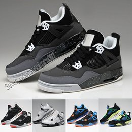 sport shoes black colour 2019 - 13 Colours High Quality Basketball Shoes Hight Cut Men Women 4s Pure Money Royalty White Cement Bred Military Blue Sport