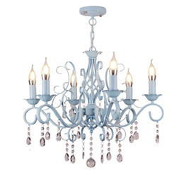 Crystal Cafe online shopping - American bedroom village restaurant Mediterranean Cafe style chandelier stairs Jane retro Wrought Iron crystal Chandelier lamp