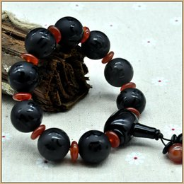 Discount men luck bracelet - Natural Round Black Agate Obsidian Men Jewelry Scrub Agate Bracelet Crystal Stone Guard Luck Charm Men women March 28 Ho