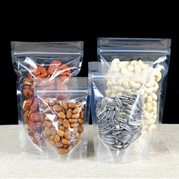 Discount plastic packaging bag resealable - 100Pcs Clear Stand-up Beverage Drink Coffee Plastic Packaging Bag, Resealable Zip Lock Grain Candy Baking Food Pouch