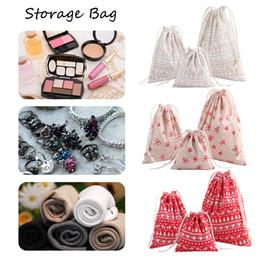 thin tea 2019 - 3pcs lot Christmas Gift Bag Storage Bag Cotton Linen Drawstring Bundle Bags Xmas Candy Tea Package Gift Wrap Christmas D