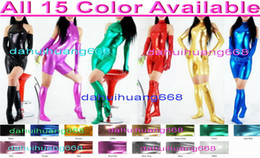 Shiny White Suit NZ - Sexy Women Short Body Suit Costumes Sexy 15 Color Shiny Lycra Metallic Short Suit Catsuit Costumes With Long Gloves and Boots Stocking DH016