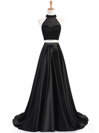 two piece dress jewel neck UK - Real Photos A-line Jewel Neckline Prom Dresses Beaded Two Piece Sleeveless Evening Dresses Party Gown Sweep Train for Women 2020