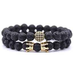China Couple black matte agate lava beads crown zircon skeleton 8 mm beaded bracelet (2 pieces) suppliers