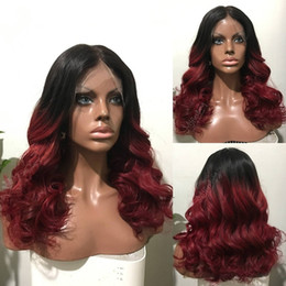 Black Women Burgundy Human Hair Wigs Australia - Hot Selling Two Tones 1b Burgundy Ombre Burgundy Body Wave Human Hair Full Lace Wigs Glueless Brazilian Lace Front Wigs for Black Women
