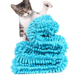 Towels For Dogs NZ - 4 Colors Fast Drying Pet Bath Towel Ultra Absorbent Microfiber Chenille Towel With Strong Absorption for Dogs Cats XS S L XL