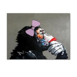 $enCountryForm.capitalKeyWord NZ - Gorilla Listening To The Music HandPainted Funny Cartoon Animal Wall Art Oil Painting Home Decor On Canvas.Multi sizes  frame Options A133