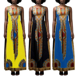 african print asymmetrical dress Canada - S-3XL Plus Size Summer Casual Abaya African Dashiki Print Women Long Maxi Dress Sleevless Vest Dresses