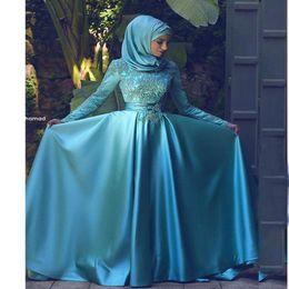 $enCountryForm.capitalKeyWord Australia - Dubai Hijab Muslim Long Sleeves Satin A Line Evening Dresses 2018 Satin Lace Applique Formal Prom Gowns Vestidos Party Prom Dresses BA9227