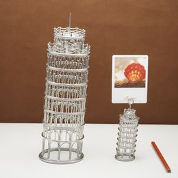Hand Made Ornament Canada - FREE SHIPMENT J12 LEANING TOWER OF PISA DECORATIONS STAINLESS HAND-MADE ART CRAFTS WEDDING BIRTHDAY HOME GARDEN OFFICE GIFT PRESENT CUTE
